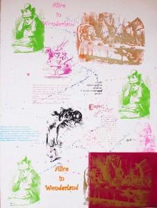 Sérigraphie encadrée - Alice in wonderland 70x50cm