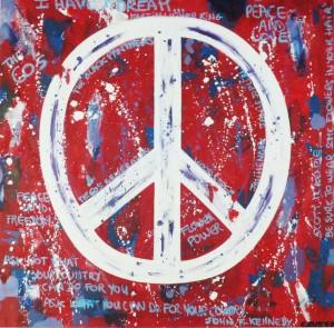 Peace & Love - 100x100 - technique mixte sur toile